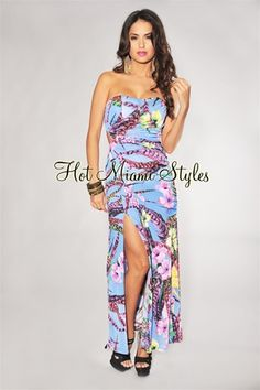 Blue Tropical Floral Print Maxi Padded Dress $42.99