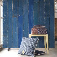 Piet Hein Eek Blue Scrapwood Wallpaper by NLXL - Made Modern - Creative beautiful wallpaper for a rustic yet modern room.