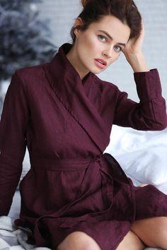 53b354f39f Handmade linen bathrobe Summer robe Natural linen robe Homewear Linen dress  Linen cape Linen jacket Gown sleepwear Womens linen clothes