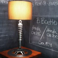 Motorcycle Parts Furniturecoil over lamp Auto Parts Furniture available at Tatted Picker Etsy www.TattedPicker.com