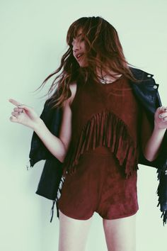 Natalie off duty works our Suedette Fringed Front Playsuit in Oxblood and teams it with our Fringed Back Faux Leather Biker Jacket Hippie Style, Bohemian Style, My Style, Indie Fashion, Daily Fashion, New Outfits, Summer Outfits, Festival Must Haves, Natalie Off Duty