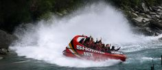 Shotover Jet in Queenstown - Pure Adrenaline on the Kawarau River. An amazing white water jet boat ride with Shotover Jet - the ultimate jet boating experience Jet Boat, Crystal Clear Water, Travel Memories, Water Sports, Kayaking, New Zealand, Scenery, To Go, Around The Worlds