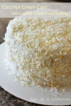 Coconut Cream Cake with Coconut Cream Cheese Frosting. This would be great for Mother's day.