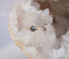 Rose cut diamond ring grey diamond with small white diamonds