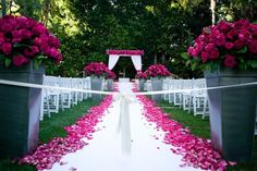 Vibrant Pink Outdoor Ceremony    Photography: Couture Foto   Read More:  http://www.insideweddings.com/weddings/stacey-janks-and-eric-jasper/385/