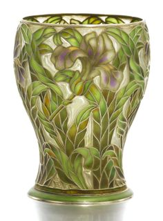 Fabergé silver-gilt and plique-à-jour enamel vase, workmaster Alexander Petrov, St Petersburg, circa 1895  of bombé form, enamelled with shaded irises on a