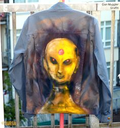 Rare Gray #Men's #Indie #Artist #Graffiti Jacket #Alien Urban Psychedelia #festivalclothing #festivalfashion #daring