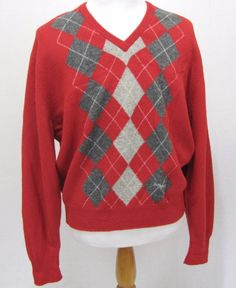 Burberrys of London Sweater XL Vintage Red Lambswool Argyle Diamond Pullover #Burberry #VNeck