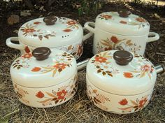 """Enamel cookware marked """"Kingsbury Cookware Collection, Japan, Dogwood"""" from the Kitsch, Vintage Kitchen Accessories, Enamel Cookware, Baking Dishes, Vintage Cooking, Vintage Enamelware, Wild Mushrooms, Antique Shops, Kitchen Items"""