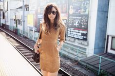 Form-fitting dress: high neck, short hem, sleeves