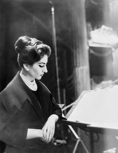Maria Callas at a recording session in Milan, 1956