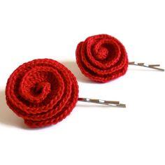 Crocheted Flower Bobby Pins