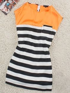 Orange Casual Round Neck Sleeveless Striped Dress :) by lowercase rach