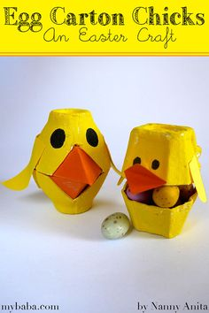 Turn some old egg cartons into a couple of sweet egg carton chicks. A fun Easter craft, plus they make a great gift to hide a few mini eggs in. Easter Gift, Easter Crafts, Egg Cartons, Mini Eggs, Rubber Duck, Great Gifts, Craft Ideas, Couple, Toys