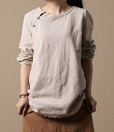 Side Plait Buttons Linen Tunic by zeniche on Etsy, $60.00