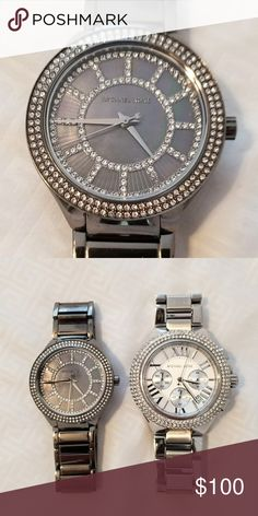 MK Watch Gun Metal Gray GREAT GRAD GIFT MK 3410 2nd picture is for size comparison only. I bought it thinking it was a bigger face watch.  No box no extra links.  It is in perfect condition. Like new. Perfect for a graduation gift. Class of 2017!!!! Michael Kors Accessories Watches