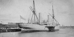 The 3,360-ton steamer USS Vanderbilt, in port during the Civil War. Vanderbilt's size, speed and range made her an ideal hunter for the Confederate Raider CSS Alabama, but she never located her prey.