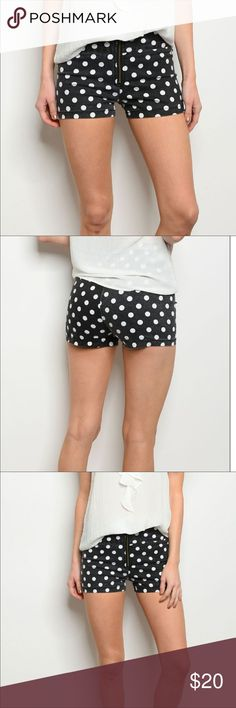 Black and white denim polka dot shorts Reposh, only tried on. Brand new from Posh Boutique. Great shorts but not my size!!  High waisted black and white polka dot denim shorts. Plenty of stretch, feels like a polyester/denim blend.  Tag says L, fits like a 27 waist Shorts Jean Shorts