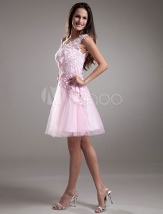 6f58c8bd54d91f Lace Cocktail Dress One shoulder Short Prom Dress Pink Tulle Party Dress