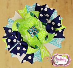 Spring Navy and Neon Lime Bow, Aqua and White hairbow