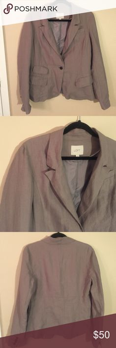 """ANN TAYLOR LOFT Linen Blazer EUC!! Light lavender linen blazer, single button closure.  Four welt pockets on front, all functional. Fully lined, extra buttons included. Laid flat chest measures 19"""", length from shoulder to hem is 25"""". LOFT Jackets & Coats Blazers"""