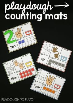 Awesome playdough counting mats! I love that kids practice number formation, counting AND ten frames on one mat. Perfect math center for preschool or kindergarten.