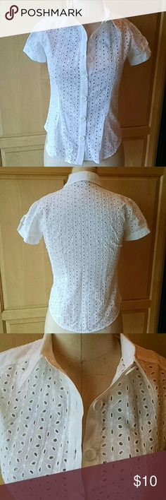 Daytrip cotton eyelet top Pretty cotton eyelet with solid cotton details Nice cuffs with 1 button sleeves Daytrip Tops Button Down Shirts