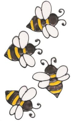 Fantastic diy flowers detail are available on our site. Stained Glass Window Clings, Faux Stained Glass, Stained Glass Designs, Stained Glass Patterns, Bee Rocks, Small Bees, Small Farm, Bee Drawing, Bee Painting