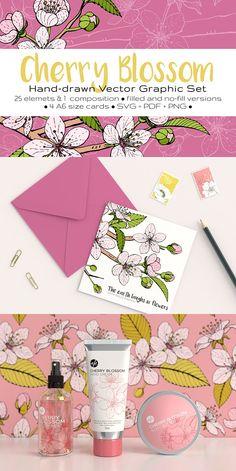 Cherry Blossom Graphic Set by annabellak on @creativemarket