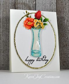 Flowers in a Vase Happy Birthday by - Cards and Paper Crafts at Splitcoaststampers Masculine Birthday Cards, Handmade Birthday Cards, Handmade Cards, Happy Birthday Photos, Honey Bee Stamps, Birthday Dates, Altenew, Flower Images, Hero Arts