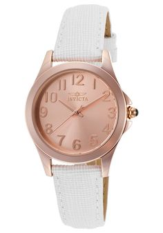 Invicta Watches Women's Angel White Genuine Leather Rose-Tone Dial Rose 18K GP SS 21374,    #Invicta,    #21374,    #Casual