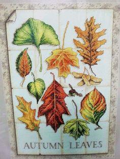 24.95 Leaves of Autumn Counted Cross Stitch Kit Dimensions Fall Foliage NIP Maple Oak #Dimensions #FallLeaves #Autumn #CrossStitch #Foliage