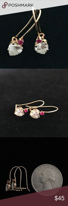 Lovely pair of 10K Y/G heart shape clear stones This is a lovely pair light 10K Yellow Gold for everyday use Pair of Earrings featuring heart shape stones with pink round tiny stones to add some color. No need to spend a fortune to wear fabulous earrings that looks like the real thing😊 Jewelry Earrings