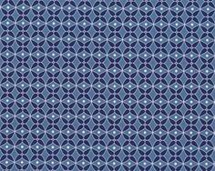 Glatter kühler Baumwolljersey LAS CONCHAS, Blütenmosaik, dunkles taubenblau-dunkelblau