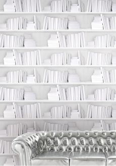 Interesting wallpaper bookcase which widens your living room