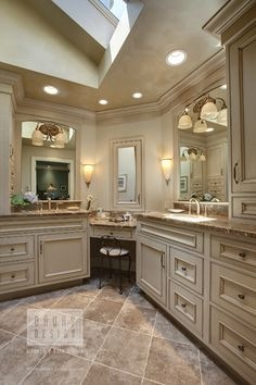 L Shaped Vanity Design Ideas, Pictures, Remodel, and Decor - page 2 Corner Vanity, Corner Sink, Kitchen Corner, Kitchen Layout, Corner Cabinets, Kitchen Cabinets, Kitchen Colors, Custom Bathroom Cabinets, Corner Space