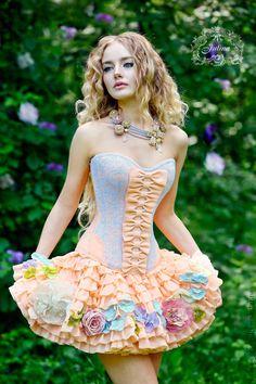 """Купить Корсет и юбка """"Лесная Фея"""" кружево шелковые цветы - оранжевый…"""