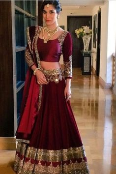 Buy online maroon colored bridal lehenga choli at lowest price. This bridal lehenga choli is prettified with attractive patterns of lace and stone. Indian Bridal Wear, Indian Wedding Outfits, Bridal Outfits, Indian Outfits, Bridal Dresses, Bride Indian, Indian Weddings, Manish Malhotra Bridal, Bridal Lehenga