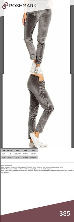 COMING SOON! Gray Velvet Comfy Pants Casual, comfy with a touch of stretch.  95% poly, 5% spandex.  28 in inseam.  Made in USA.  See pic 3 for sizing.   More pics to come... Pants