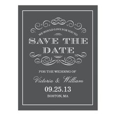 Formal Wedding Save the Date CLASSY WEDDING | SAVE THE DATE ANNOUNCEMENT POSTCARD