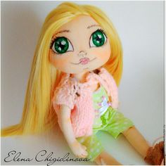 Купить Кукла игровая. Текстильная интерьерная кукла - салатовый, интерьерная кукла, Кукла игровая