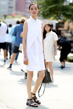 Shirtdress, black and white so crisp and sophisticated but playful street style at NYFW