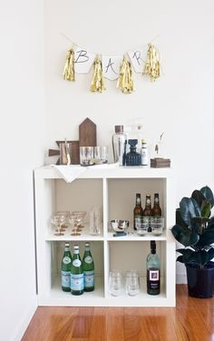 3 Ways to Style Ikea's Kallax Shelf // From Gold Blog // Bar // Bar Cart // Bar for a Party Idea