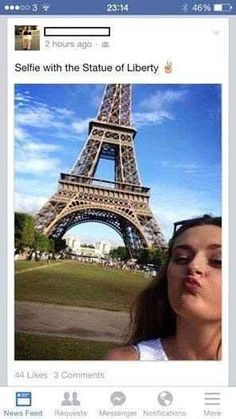 The owner of the world's best/worst selfie: | 28 People Who Are Too Dumb For Their Own Good. Well at least the statue of liberty was a gift from Frabce...