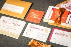 "Indian Wedding Invitations, Pink, Orange and Gold, Henna Design, Summer Invitations - ""Modern Henna"" Flat Panel, No Accent Layers"