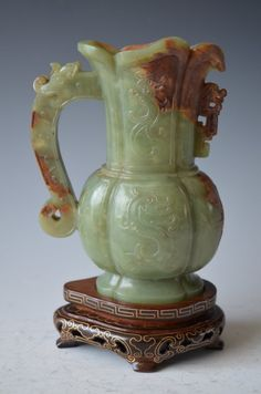 RP: Chinese Carved Green Yellow Jade Wine Cup