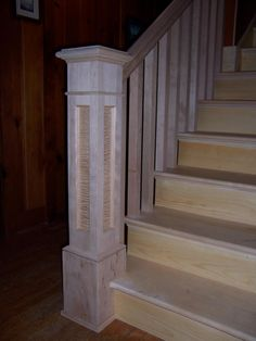 "Craftsman newel post- Maple with curly inlay, 6710 rail & 1 3/4"" balusters"