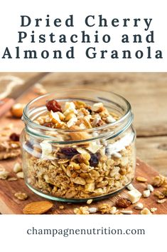 Simply stir together these healthy, whole food ingredients and bake the granola on a sheet for a high fiber, high protein, flavor-packed breakfast or snack. #granola #homemadegranola Dried Cherries, Meatless Monday, High Protein, Pistachio, Granola, Whole Food Recipes, Almond, Cherry, Vegetarian
