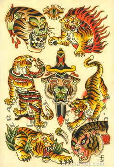 "Traditional Tattoo Flash Print 2011 Tiger 13"" x 19"". $15.00, via Etsy."