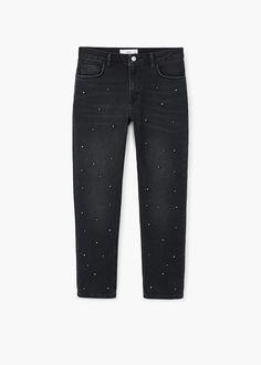 Straight Jeans mit Perlenverzierung